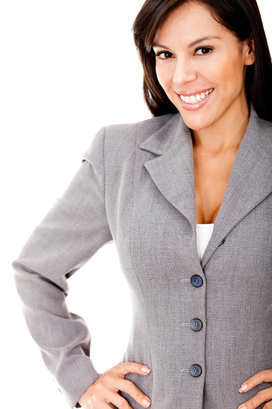 Successful business woman smiling - isolated over a white background
